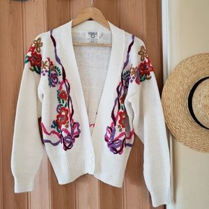 Vintage Embroidered Cardigan Sweater